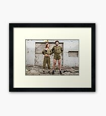 Models in Israeli Army uniform is a deserted location  Framed Print