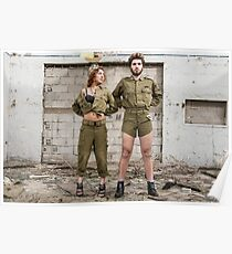 Models in Israeli Army uniform is a deserted location  Poster