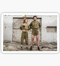 Models in Israeli Army uniform is a deserted location  Sticker