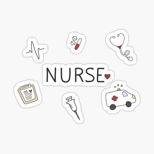 Conjunto de pegatinas Doodle de enfermera y estudiante de enfermería - Rojo y blanco Pegatina