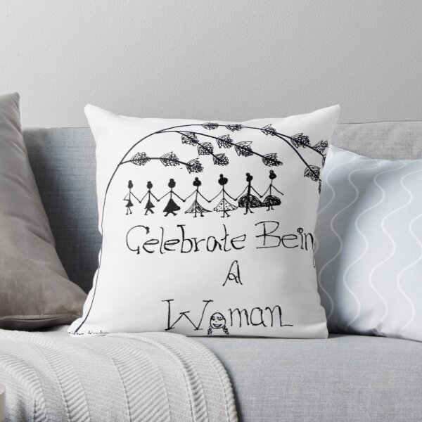 'Celebrate Being A Woman' Doodle Art Throw Pillow