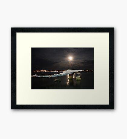 Ayvalik moonshine over jetty Framed Print