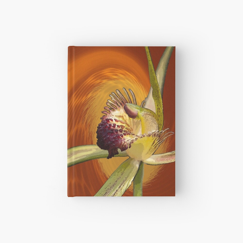 Swamp Orchid with Orange Swirl, native orchid. Hardcover Journal