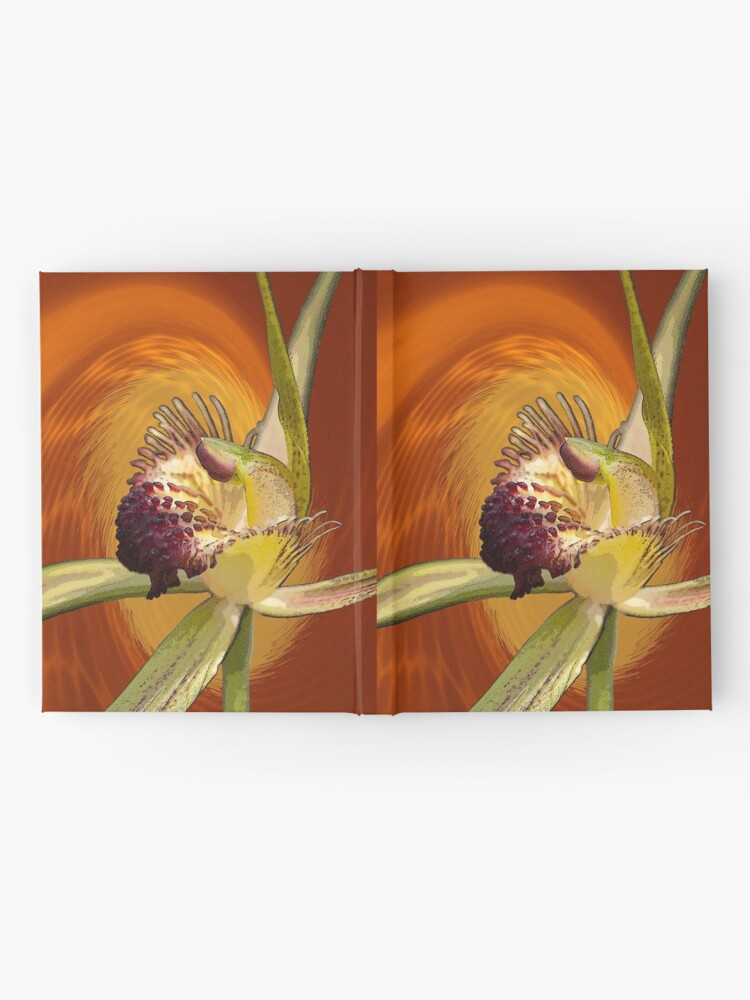 Alternate view of Swamp Orchid with Orange Swirl, native orchid. Hardcover Journal