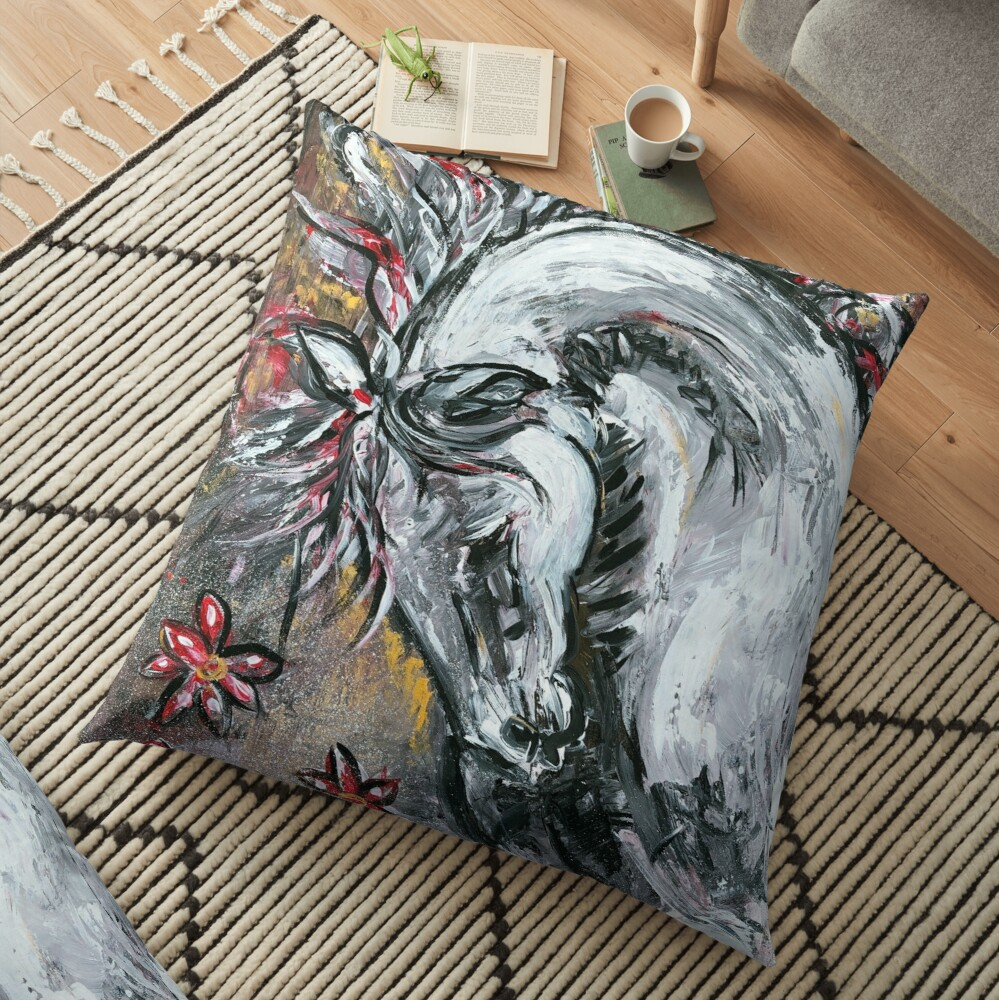 In the mood, painted Floor Pillow
