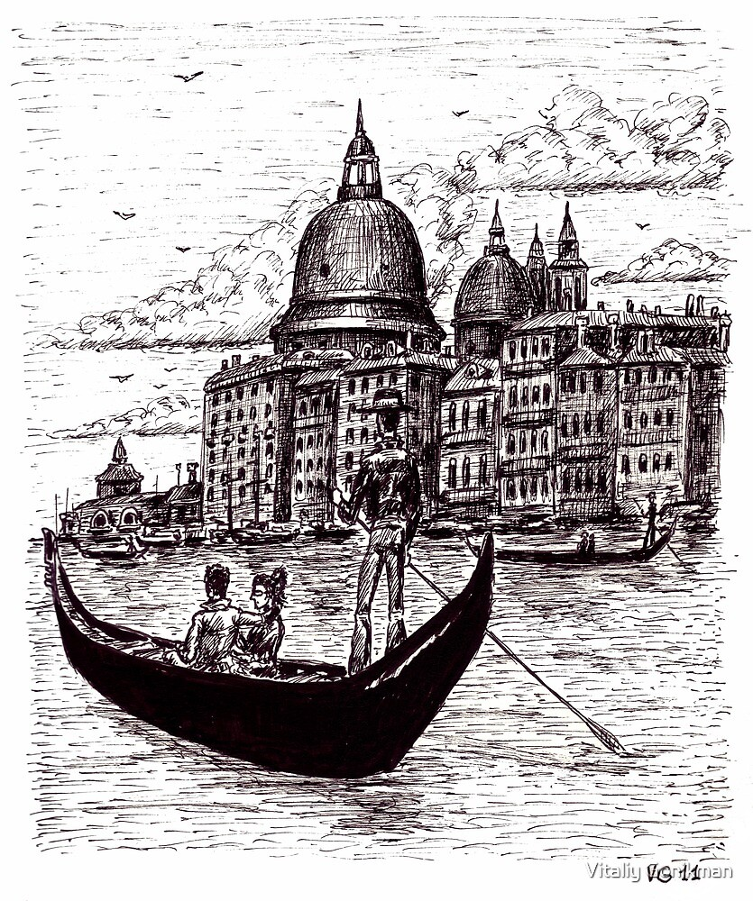 Venice Italy black and white pen ink drawing by Vitaliy Gonikman