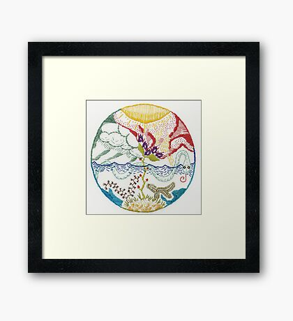 serpent (intuitive embroidery) Framed Print