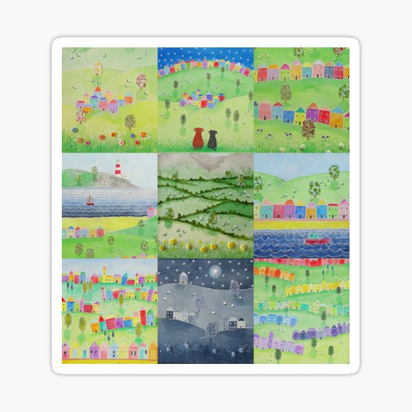 Countryside and seaside scenes #1 - pretty rainbow houses, sheep, dogs, happy, uplifting Sticker