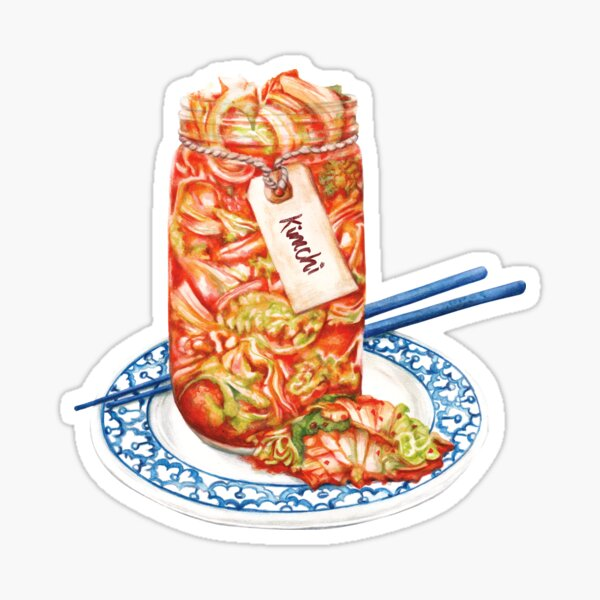 Kimchi- Watercolour Food Illustration Sticker