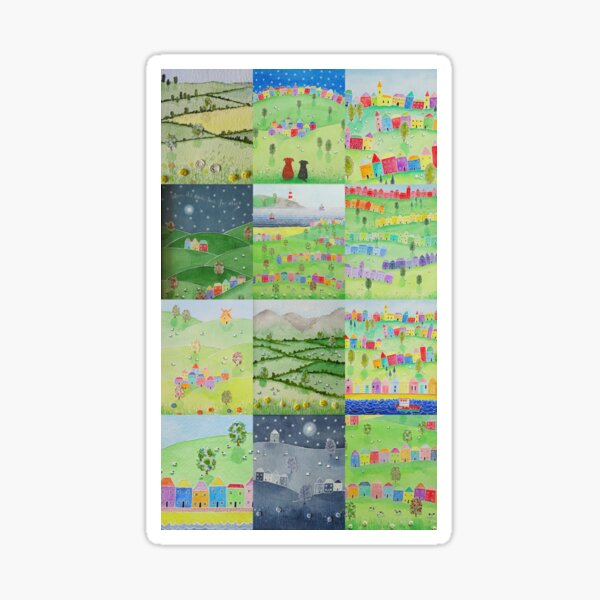 Countryside and seaside scenes #2 - pretty rainbow houses, sheep, dogs, happy, uplifting Sticker