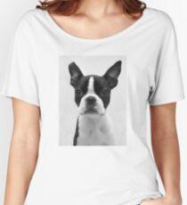 Portrait of Meryl the Boston Terrier Women's Relaxed Fit T-Shirt