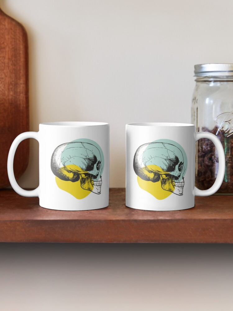 Alternate view of Skull Pastel Blue & Yellow • Pastel Goth  Mug