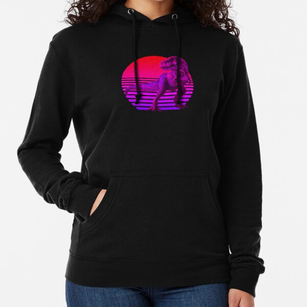 Retrowave Sunset With TRex Lightweight Hoodie