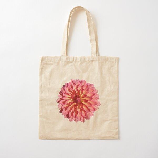 Pink orange dahlia Cotton Tote Bag