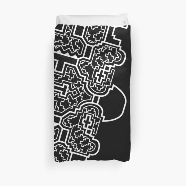 The Shipibo Worldview | Black | Shipibo sacred geometry pattern by Ronin Koshi Duvet Cover