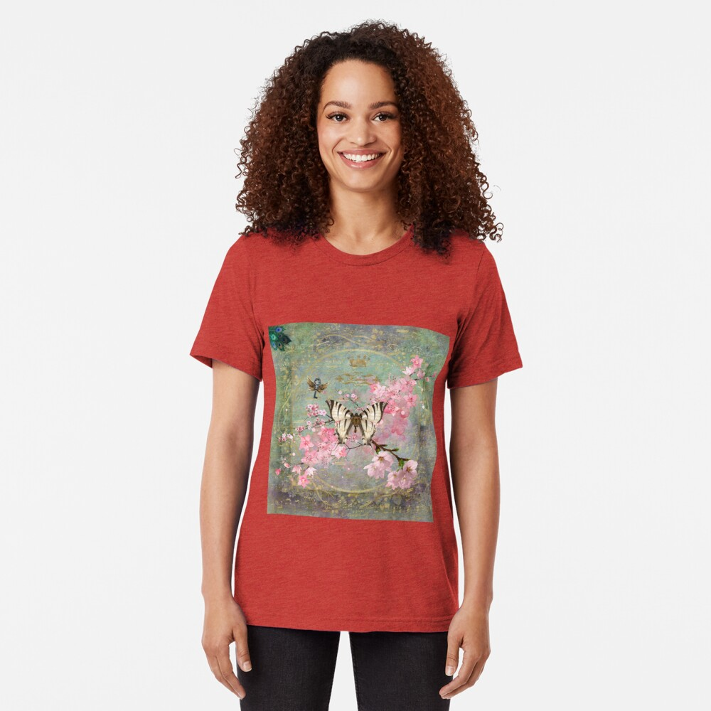 Harmony Cherry Blossom Butterfly Tri-blend T-Shirt