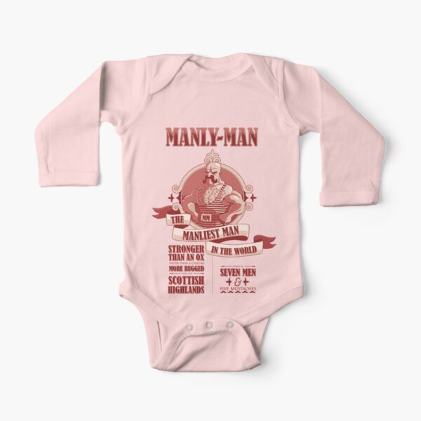 Manly-Man Long Sleeve Baby One-Piece