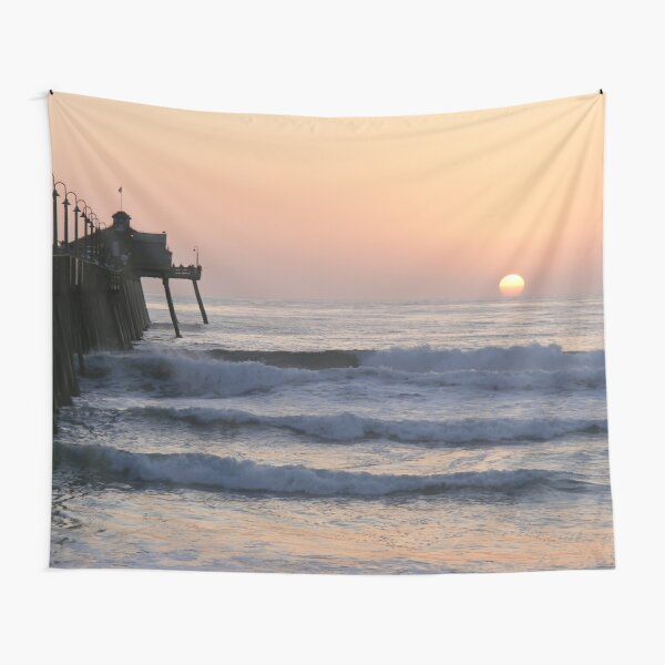 Sunset By The Pier Tapestry