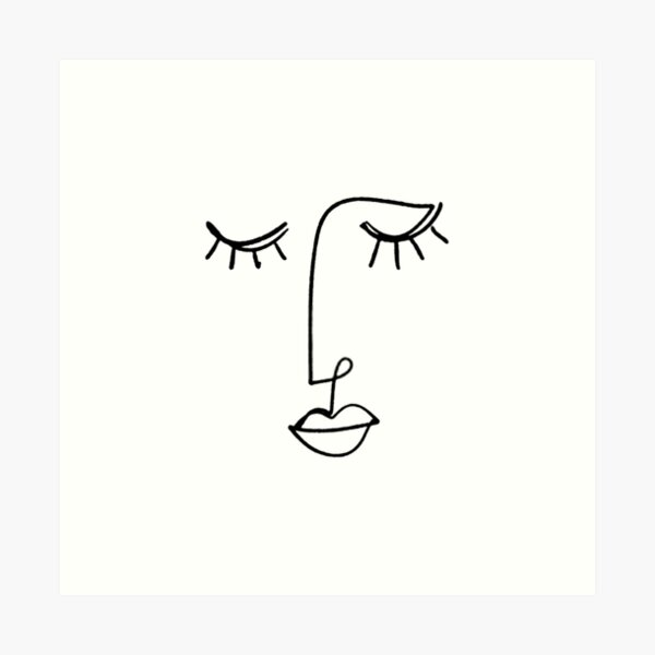 One Line Face Art Art Print