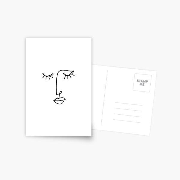 One Line Face Art Postcard