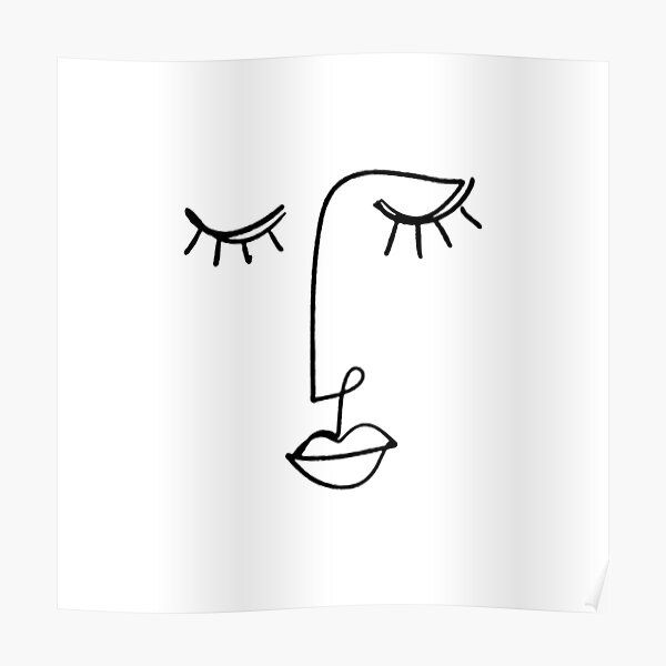 One Line Face Art Poster