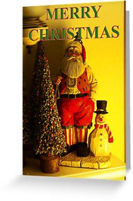 santa and snowman christmas card by dedmanshootn