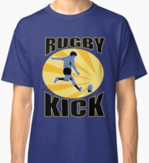rugby player kicking ball retro style Classic T-Shirt