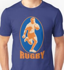 rugby player running passing ball retro style T-Shirt