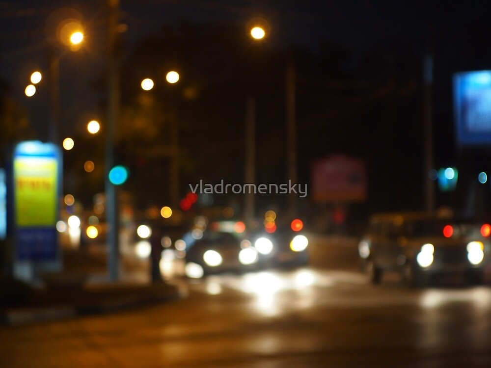 Abstract colored lights from moving vehicles by vladromensky