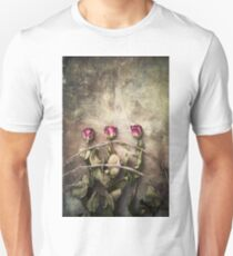 three dried roses and barbed wire T-Shirt
