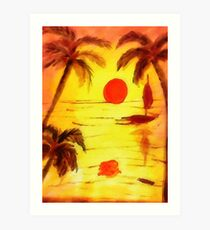 Golden Sunset, watercolor Art Print