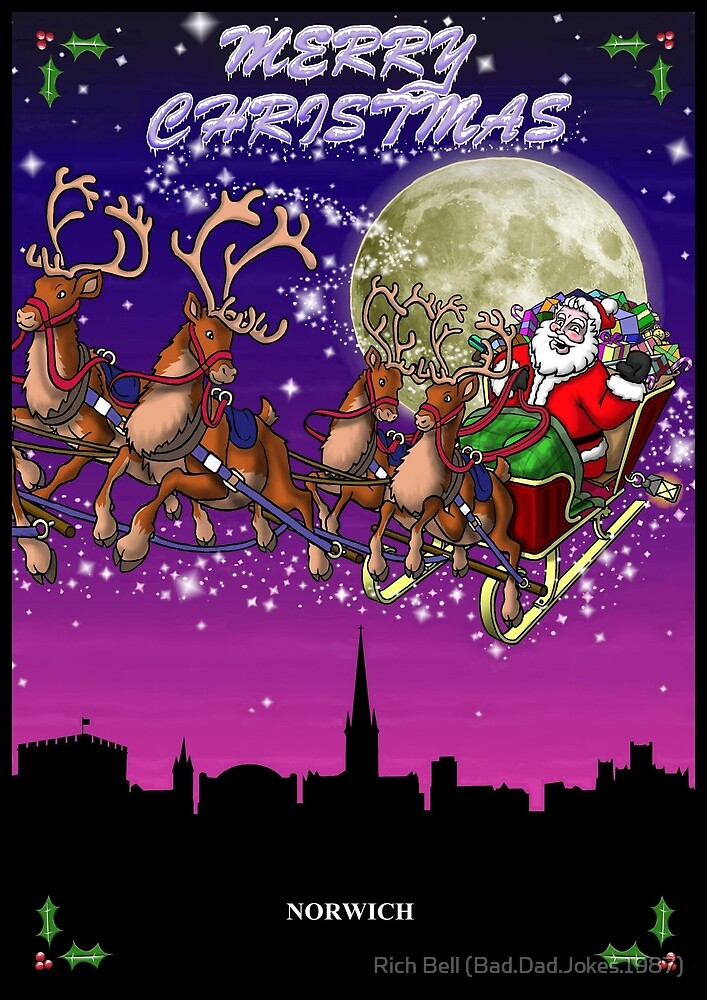 Here comes Santa Claus - Norwich skyline by Richard Bell