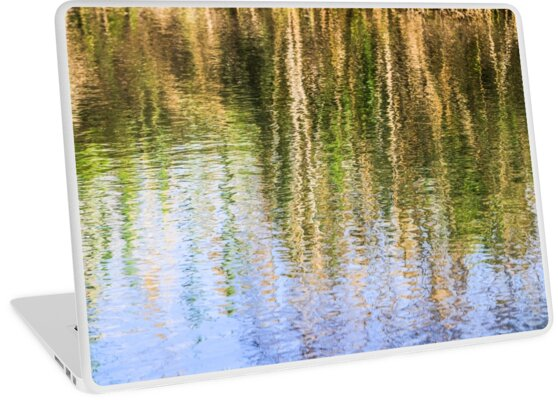 trees on the river bank reflect in the rippling water of the river  by PhotoStock-Isra