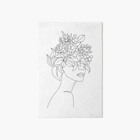 Plant Head Woman Art Print | Woman With Plants on Head Poster | Flower Woman Wall Art | Woman With Flower Head Print | Line Drawing Woman Art Board Print