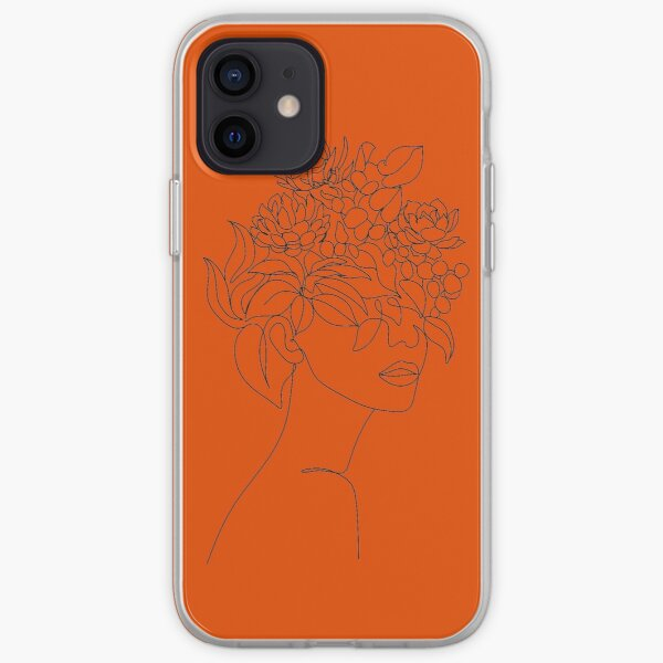 Plant Head Woman Art Print | Woman With Plants on Head Poster | Flower Woman Wall Art | Woman With Flower Head Print | Line Drawing Woman iPhone Soft Case