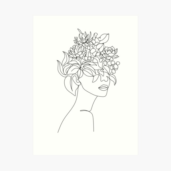 Plant Head Woman Art Print | Woman With Plants on Head Poster | Flower Woman Wall Art | Woman With Flower Head Print | Line Drawing Woman Art Print