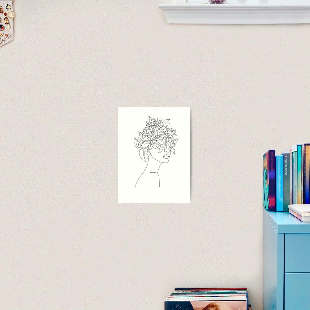 Pflanzenkopf Frau Kunstdruck | Frau mit Pflanzen auf Kopfplakat | Blumenfrau Wandkunst | Frau mit Blumenkopfdruck | Strichzeichnung Frau Kunstdruck