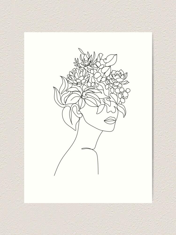 Alternative Ansicht von Pflanzenkopf Frau Kunstdruck | Frau mit Pflanzen auf Kopfplakat | Blumenfrau Wandkunst | Frau mit Blumenkopfdruck | Strichzeichnung Frau Kunstdruck