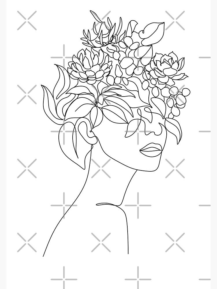 Pflanzenkopf Frau Kunstdruck | Frau mit Pflanzen auf Kopfplakat | Blumenfrau Wandkunst | Frau mit Blumenkopfdruck | Strichzeichnung Frau von OneLinePrint