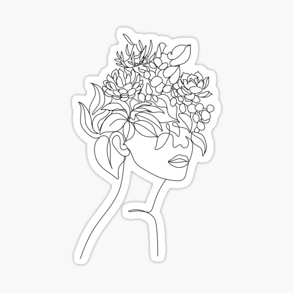Pflanzenkopf Frau Kunstdruck | Frau mit Pflanzen auf Kopfplakat | Blumenfrau Wandkunst | Frau mit Blumenkopfdruck | Strichzeichnung Frau Sticker