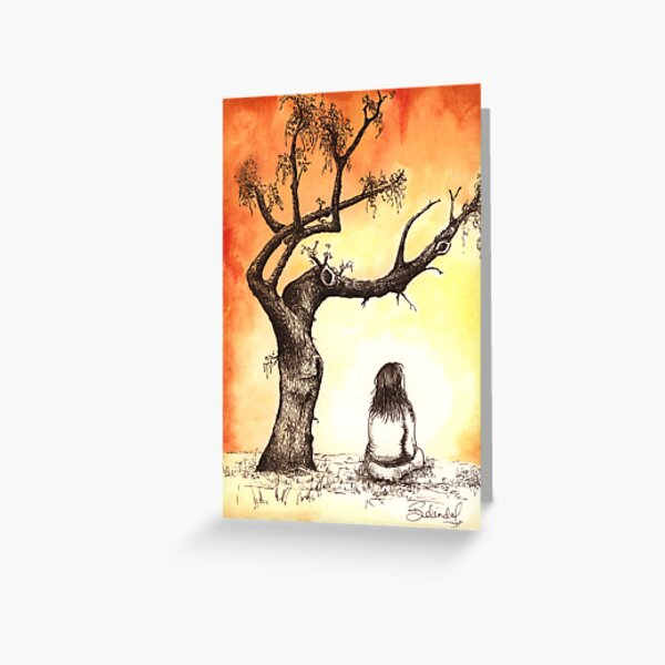 Tree Girl Contemplation Greeting Card