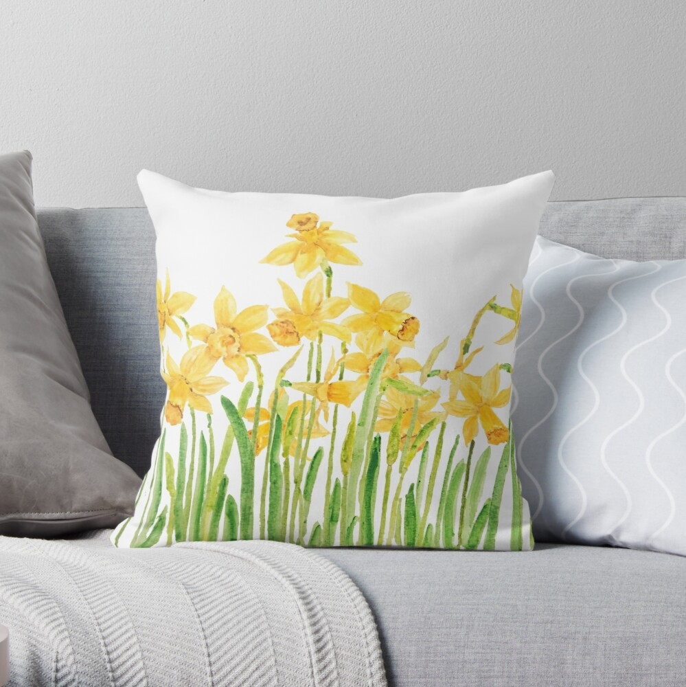 yellow daffodils field watercolor Throw Pillow