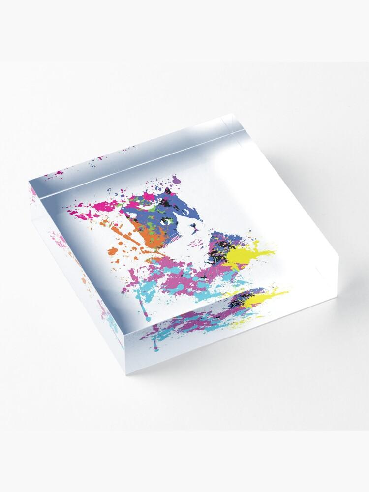 Alternate view of Color Splash Cat Acrylic Block