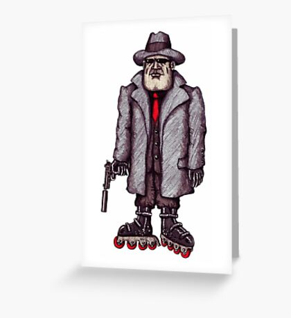 Hitman on Rollerblades pen ink drawing Greeting Card