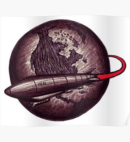 Around the Globe on Vintage Zeppelin black and white pen ink drawing Poster