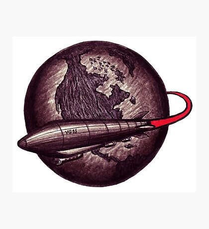 Around the Globe on Vintage Zeppelin black and white pen ink drawing Photographic Print