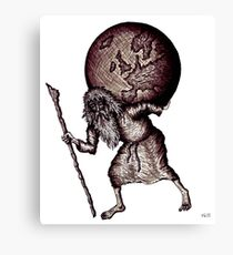 Aging Atlas surreal black and white pen ink drawing Canvas Print