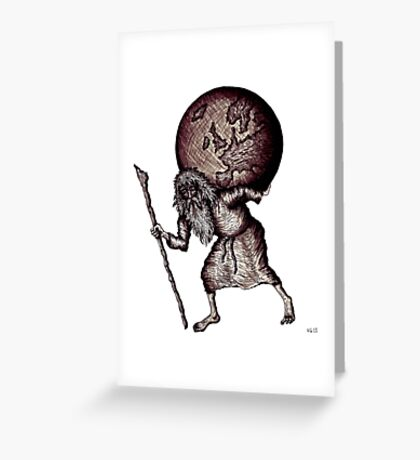 Aging Atlas surreal black and white pen ink drawing Greeting Card