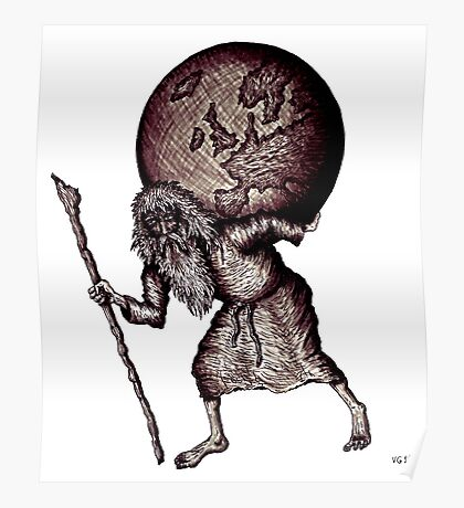 Aging Atlas surreal black and white pen ink drawing Poster