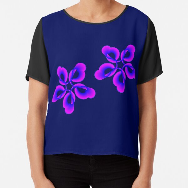 Spiral Pink Blue Abstract Flowers Chiffon Top